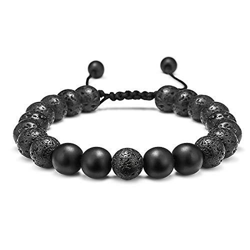 Lava Rock Bracelet - 8mm Lava Rock Bead Black Matte Agate Stone Anxiety Bracelet, Men Women Stress Relief Yoga Beads Adjustable Aromatherapy Essential Oil Diffuser Healing Bracelets