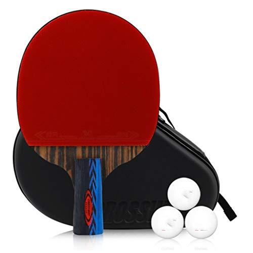 Profesional de 6 estrellas raqueta de tenis de mesa, mesa de ping pong de la paleta con la bolsa de almacenamiento, pelotas de tenis de mesa 3, mango largo / corto murciélagos mango, ideal for interme