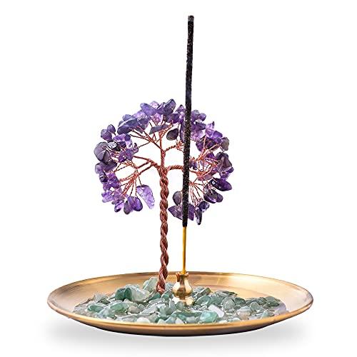 Incense Holder for Sticks, Healing Crystal Stone Money Tree Incense Burner, Ash Catcher for Yoga,...