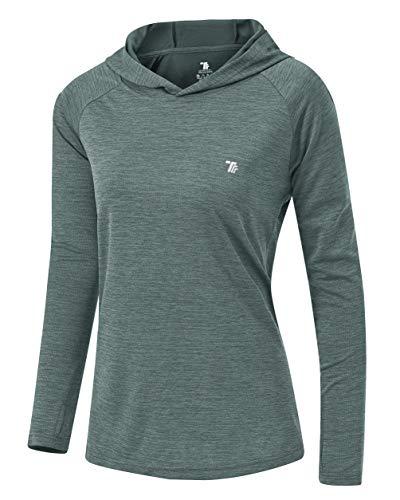 YSENTO Damen Langarm Running Hoodie Gym Sport Yoga Tops Shirts UPF 50+ mit Daumenloch Gr. Small, blau / grau