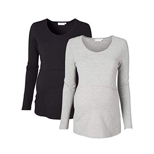 2HEARTS Umstands- und Still-Shirt (2er-Pack) Love is in The Air – Lange Basic-Oberteile für werdende & stillende Mütter – schwarz/grau meliert