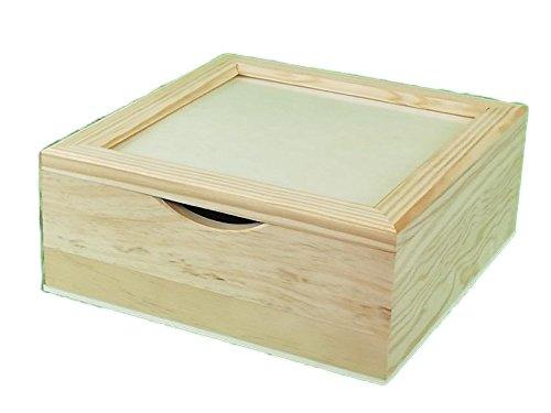 Caja servilletero tapa cristal. Madera sin tratar. Para pintar. Decoración y manualidades. Medidas exteriores: 21 * 21 * 8 cm. Medidas interiores: 18,5 * 18,5 * 7 cm.