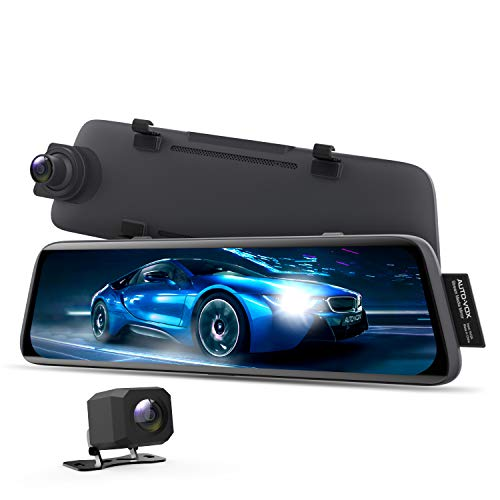 AUTO-VOX V5 Mirror Dash Cam Front and Rear,No Glare Stream Media Rear View Mirror Camera with 9.35 Full Laminated Touch Screen, 1080P Super Night Vision Backup Camera,GPS Tracking, Parking Mode
