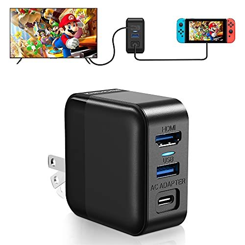 Switch Dock Charger Adapter, HDMI AC Adapter Charger for Switch, 3 in 1 USB C Charger for Nintendo Switch, 39W Switch TV Dock with HDMI, USB 3.0 Port, Type-C Power Cord