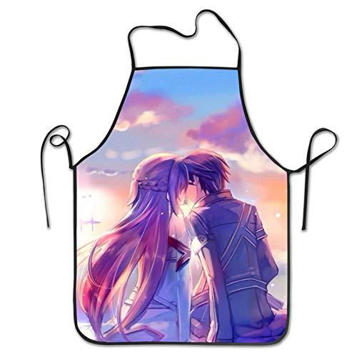 Delantal de cocina unisex con diseño de corazones y flores, de Asuna And Kirito Kiss