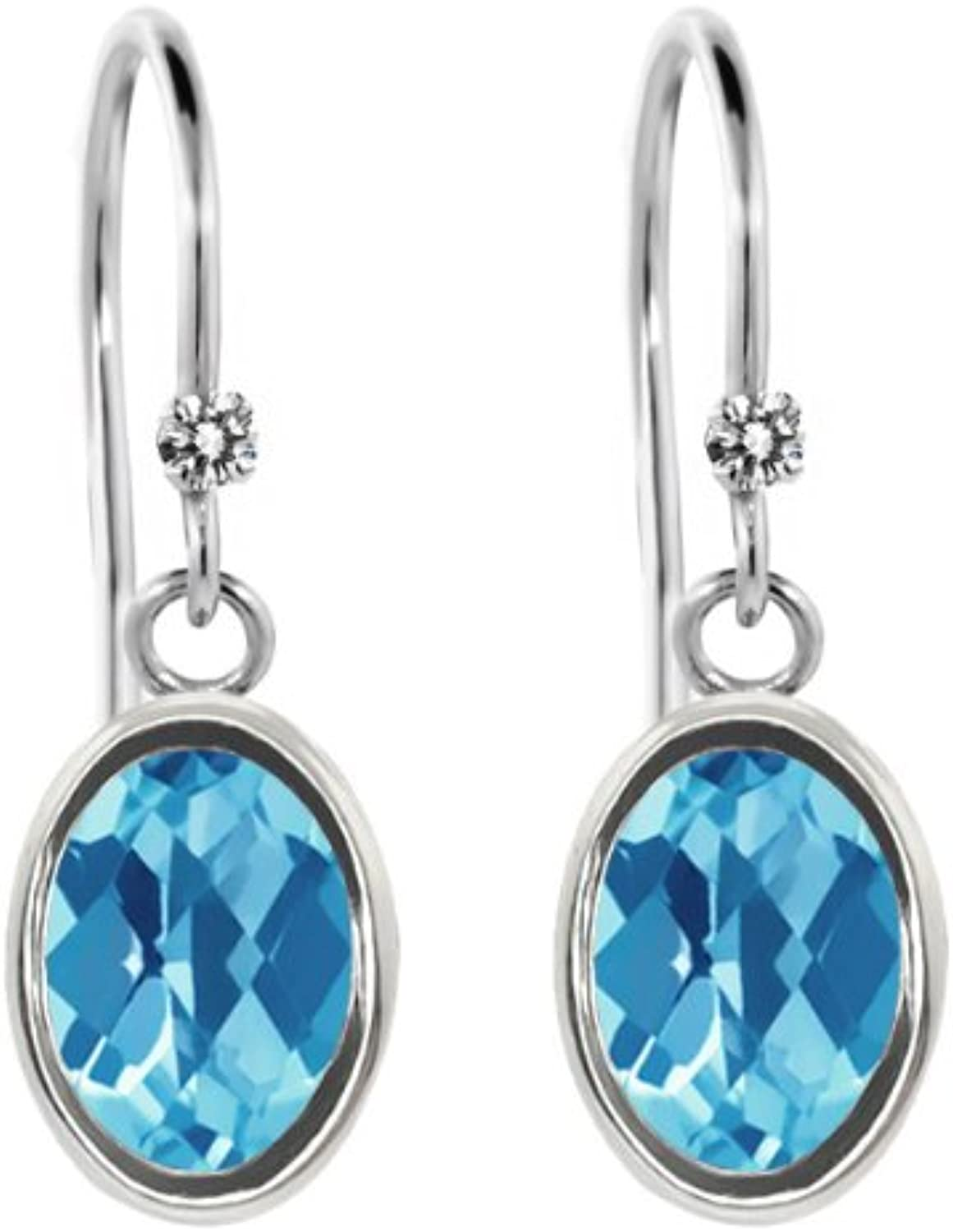 1.92 Ct Oval Checkerboard Swiss bluee Topaz White Diamond 925 Silver Earrings