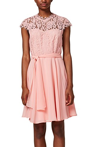 ESPRIT Collection Damen 028EO1E016 Partykleid, Rosa (Light Pink 690), 40