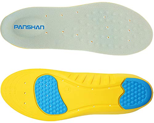 PANSHAN Memory Foam Orthotic Insoles for Plantar Fasciitis with Arch Support Shock Absorption Metatarsal Pad Stoma Design for men & women(Men 5-7.5 or Women 5-7)