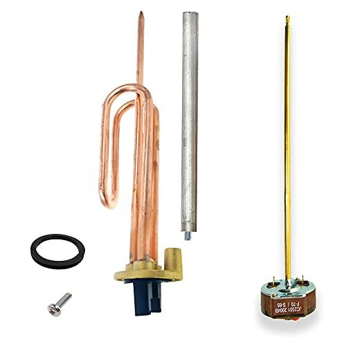 GOLDMAN SERVICE Kit Resistencia Curva Termo eléctrico Flange + Anodo magnesio + Junta Goma + Tornillo fijación, 1500W, Incluye Termostato Varilla, 270mm.