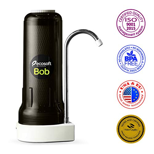 Ecosoft Countertop Water Filter System for Faucet Mount with Extra Filtration Cartridge - Black