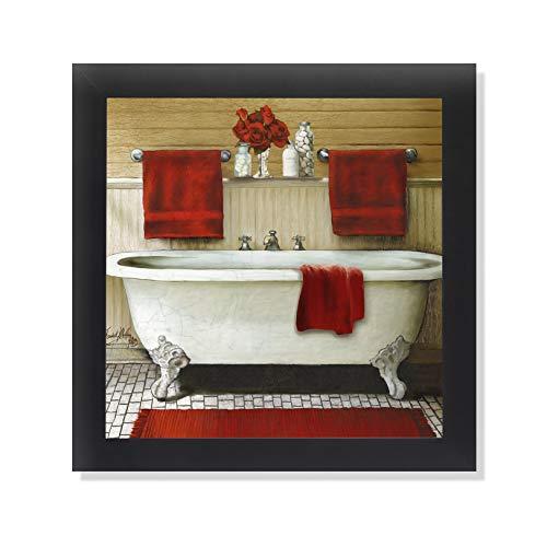 Red Bain III Bathroom Vintage Claw Foot Tub Classic Farmhouse Black Framed Art Print 12x12