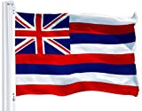 G128 - Hawaii State Flag 3x5 ft Printed Brass Grommets 150D Quality Polyester Flag Indoor/Outdoor - Much Thicker and More Durable Than 100D and 75D Polyester