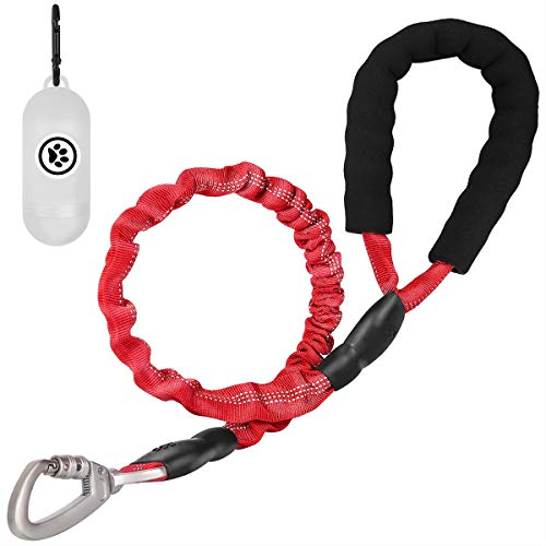 MUMUPET 2.6 FT Strong Dog Leash, Heavy Duty Training Dog Leash with Padded Handle, Tactical Bungee Dog Leash, Highly Reflective Threads for Medium Large Dog Leads, Upgraded Alloy Buckle is Safer