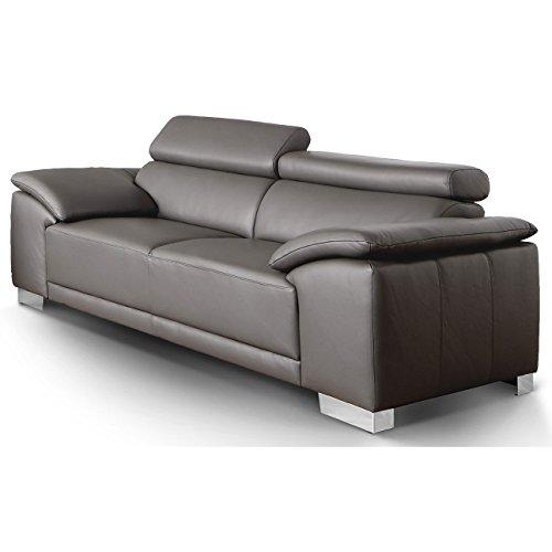 Candy 3C Designer Leder-Sofa Amalfi Voll-Leder mit Chrom-Füße verstellbare Lehnen, XL Couch (2-Sitzer, Leder)
