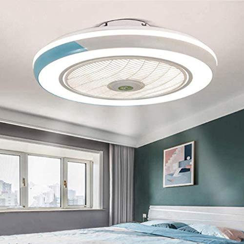 Ventilador De Techo 60W LED Lámpara Creative Regulable Bajo Ruido Invisible Lámpara Luz De Techo Del Ventilador Bajo Ruido Adecuado Para Sala De Estar Dormitorio Habitación Infantil Invisible,Azul