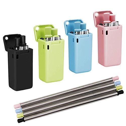 Confezione da 4 cannucce pieghevoli riutilizzabili in acciaio inox, cannucce pieghevoli per viaggi, cannucce pieghevoli con custodia rigida (nero/blu/verde/rosa)