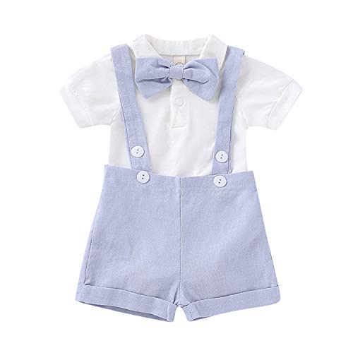 De feuilles Baby Anzüge für Jungen Gentlemen Kinder 10 Stück Bekleidungssets T-Shirt Romper Latzhosen mit Fliege
