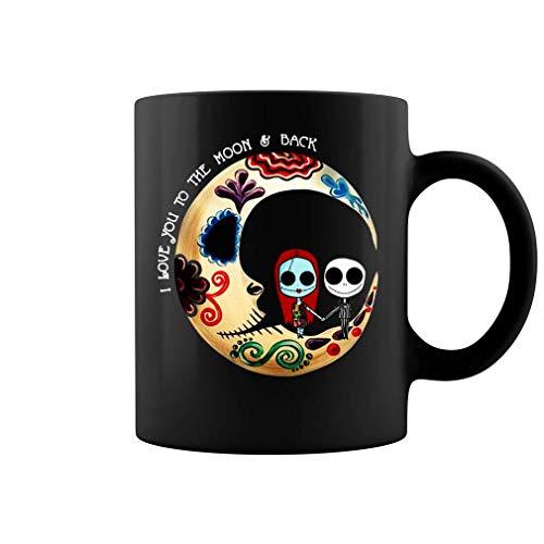 N\A Te Amo hasta la Luna y de Regreso Pesadilla Antes de Navidad Taza de café de cerámica Taza de té (Negro)