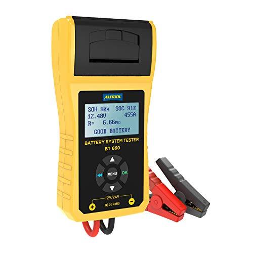 AUTOOL BT-660 12V 100-3000 CCA - Analizador de batería automático para todos los coches y herramienta de diagnóstico de arranque y sistema de carga con impresora térmica integrada