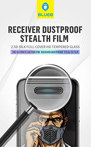 iPhone Xr, BLUEO King Kong 2.5D Strong HD Corning Gorilla 9H Fast Stick Full Cover Tempered Glass Silk Touch Receiver Dustproof Hole Stealth Film for Apple iPhone Xr 6.1' - Black