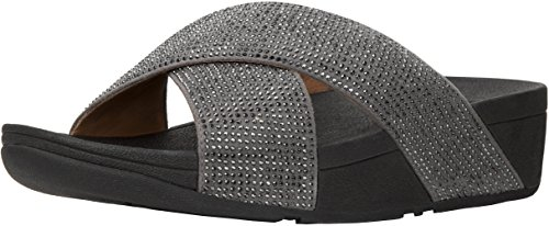 FitFlop Womens Ritzy Micro Crystal Slide Sandal Shoes, Pewter, US 8