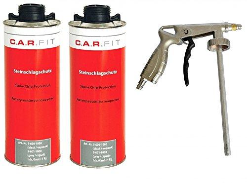 2x CARFIT Unterbodenschutz/Steinschlagschutz schwarz + Pistole