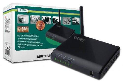 DIGITUS Serveur réseau USB multifonction, 4 ports, Hub USB réseau, NAS, Serveur d'impression USB 2.0, RJ45, LAN sans fil 11n, Noir