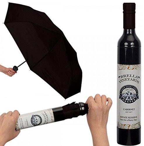 Playmaker Toys Brella Vineyards - Paraguas con diseño de botella de vino, color negro, Negro