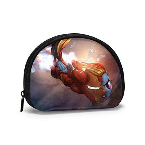 and My Rainbow Pony - Cartera portátil para mujer, diseño de concha, bolsa de almacenamiento para joyas, llavero y auriculares multifuncionales