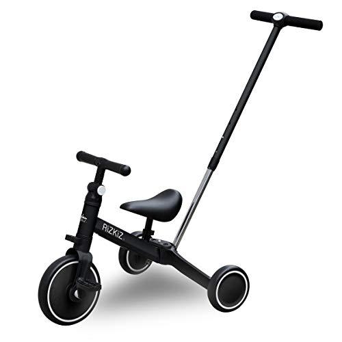 RiZKiZ 2in1 折たたみ三輪車 二輪車 大人用ハンドルバー付き 【ブラック】 2WAY 1歳から5歳まで 足蹴り ハンドル サドル 調整可能 空気入れ不要 安心 安全