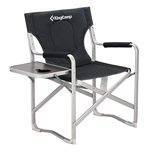 KingCamp Director Chair Full Back Folding Aluminum Padded Portable Heavy Duty Comfort Sturdy with Armrest Side Table and Cup Holder for Camping, Supports 300lbs