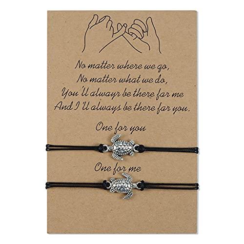 VGWON 2 pulseras de pareja de amistad de larga distancia, promesas iguales para las señoras Pairs, mejores amigos, madre, hija, sol y luna Tortuga marina