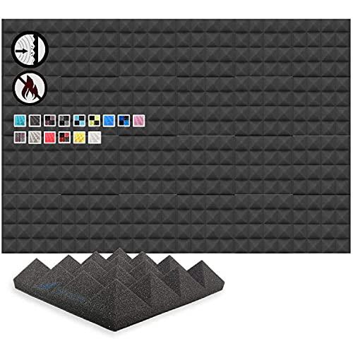 Arrowzoom 24 Pannelli Fonoassorbenti Piramidali Correzzione acustica Ritardante di Fiamma Isolamento Acustico 25x25x5cm Nero