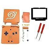 THE TECH DOCTOR Carcasa completa Gameboy Advance SP de repuesto, lente de pantalla y botones, kit de reparación profesional que incluye herramientas (Naruto)