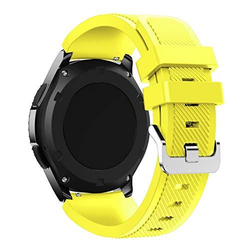 PZZZHF Banda para Samsung Galaxy Watch 46mm / 42mm / Activo 2 Engranaje S3 Frontier para Huawei Watch GT 2E / 2 GTS Correa 20 / 22mm Correa de Reloj (Band Color : Yellow, Band Width : 22mm)