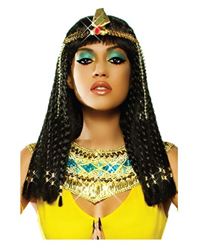 Horror-Shop Schwarze Kleopatra Zopf Perücke Deluxe für Ägypterin Kostüme