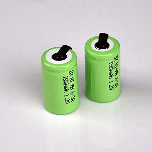 mrwellog Batería Recargable de 1,2 V 1500 mah 1 / 2A 2/3 A celda con pasadores de Soldadura para afeitadora eléctrica, Cepillo de Dientes-5 Piezas