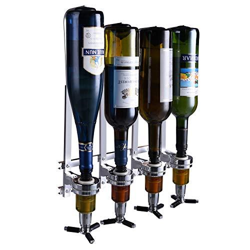 4 Bottle Wall Mounted Liquor Dispenser Bar Butler Bracket Solo Optic Spirit Wine Beer Alcohol Bottle Beverage Stand Revolving Nozzle Drinkware Set