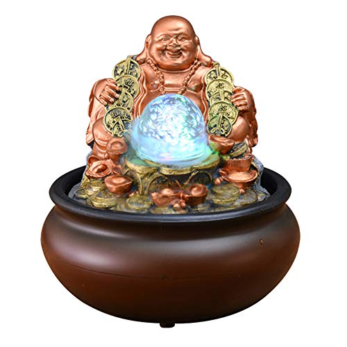 Zen Tabletop Fountain,Small Relaxation Water Feature,Water Fountain with Led Ball On The Top,Portable Feng Shui Fountain Indoor Outdoor Buddha Statue 8inch