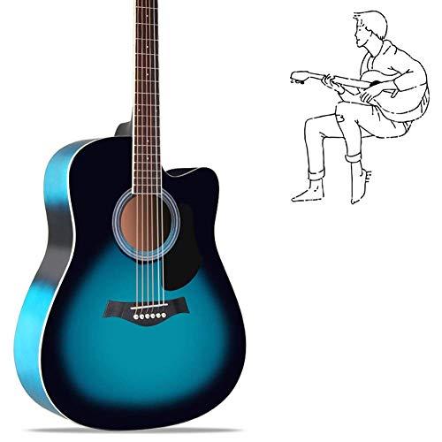 Pop de la gente de la guitarra, de 6 años de Natu secado de madera sólida de chapa de madera clara calidad de sonido principiante Práctica de la guitarra acústica, 6 colores opcionales (Color: Marrón,