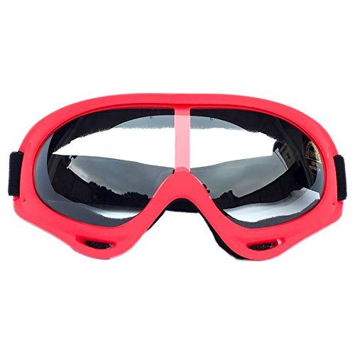 Leezo Gafas de Ciclismo Mujer, protección UV 400, Resistente al Viento, a Prueba de Polvo, para Motocross, Patinaje, Motocicleta, Bicicleta, para niños, niñas y jóvenes, Red Frame - Transparent Lens
