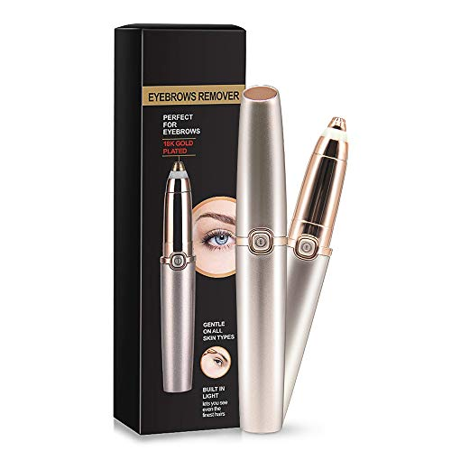 Eyebrow Hair Remover, Eyebrow Trimmer Epilator Painless Razor for Face Lips Facial Portable Eyebrow Razor with Light for Women Men (Gold)