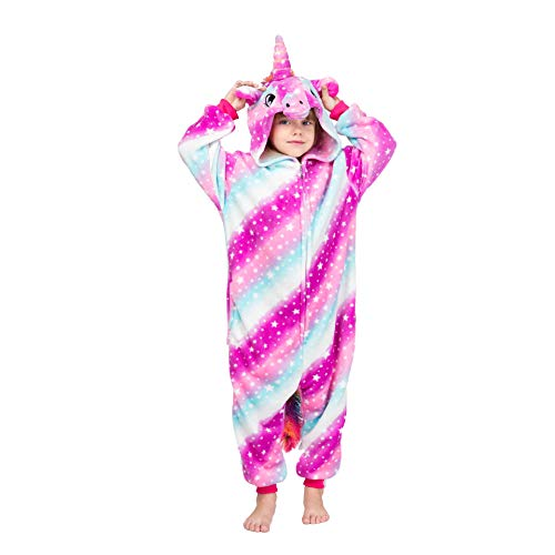 Coralup - Tutina morbida intera per bambini e bambine, con cappuccio, in pile, fantasia dinosauro, pigiama in un pezzo per bambini Unicorno bambino 7-8 Anni