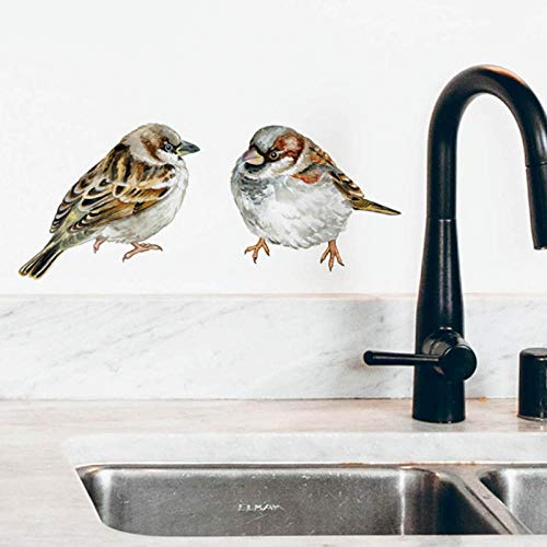 Mamalook pájaros pintados a mano pegatinas de pared forjado habitación nevera azulejo armario animales decoración de pared vinilo PVC calcomanías de pared para decoración del hogar
