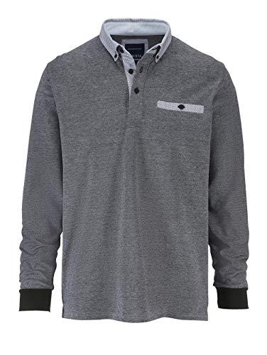 BABISTA Herren Polo-Shirt in zweifarbiger Optik – Langarm-Shirt aus reiner Baumwolle, Pullover mit Hemd-Kragen, Polo-Hemd in Grau, Gr. 48, Grau, Gr. 60