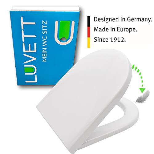 LUVETT WC-Sitz D600 D-Form mit Absenkautomatik SoftClose® & TakeOff® EasyClean Abnahme, Duroplast Toilettendeckel, Farbe:Weiß