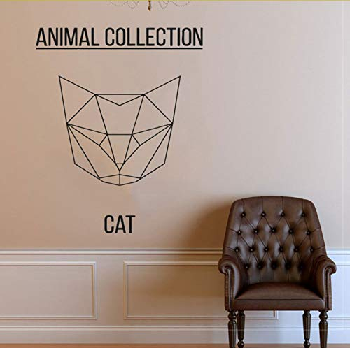 Lvabc Geometrische Kat Hoofd Vinyl Sticker Abstract Feline Muursticker, Kitty Art, Kat Meme, Dierenkunst, Huisdier Muursticker 47X42Cm