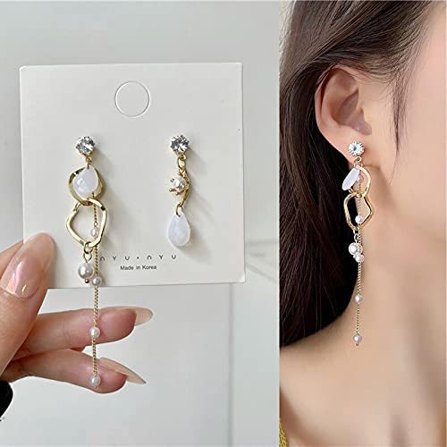 Vintage Hollow Round Hoop Rhinestone Pearl Tassel Asymmetrical Pendant Drop Earrings for Women Girls Teens Earrings 2021