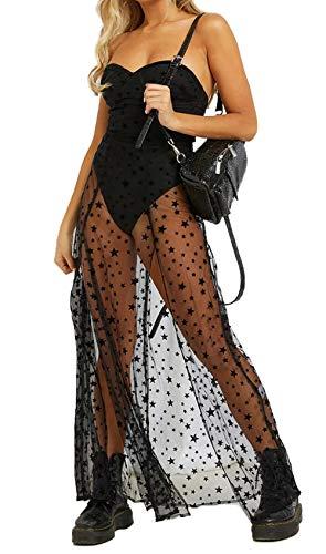 Carolilly Damen Mode Streetwear Transparent Kleid Party Clubwear Unterkleid Bikini Cover up (S, Schulterfrei Kleid)