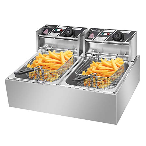 Electric Fryer Deep Fryer 5000W Commercial French Fryer Countertop with Removable Baskets Stainless Steel Restaurant Home Kitchen 2 Baskets Double Tank 12Liter